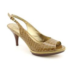 Nine West Sharina Heel Nine West Sharina Shoe- Taupe-Crocodile Print. Worn one or twice. Great condition and comfortable-not a high heel. Comes with box. Color is a brown gold green color-box says taupe. Nine West Shoes Heels