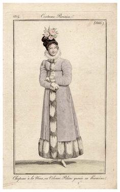 Costume Parisienne, Regency / Empire 19th century fashion copperplate print.
