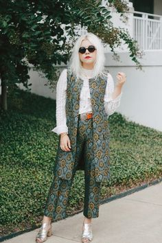Jacket: styles by hannah riles, blogger, printed pants, blue pants, pattern, jacquard, medium size belt, sleeveless coat, blue pants - Wheretoget
