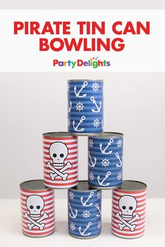 Make this DIY pirate tin can bowling game with empty tin cans and our free printables! This is such a fun pirate party game that kids will want to play again and again!