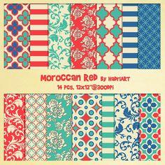 Moroccan Pattern Digital Paper Pack. Arabic Pattern by HadriART