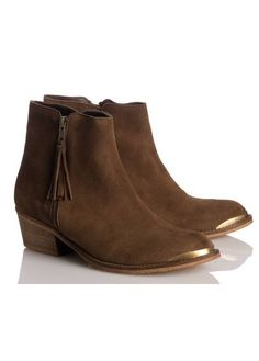 Bottines cuir velours NOISETTE by JONAK