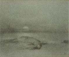 Jakub Schikaneder (1855, Prague-1924, Prague)    The Drowned Woman    charcoal on handmade paper