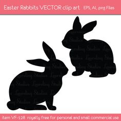 royalty free vector Easter rabbit clip art, bunny clipart, editable eps file, png files,  instant download, VF128