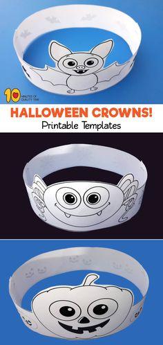 Halloween Crowns - P Printable Halloween Masks, Dulceros Halloween, Maske Halloween, Moldes Halloween, Bricolage Halloween, Halloween Arts And Crafts, Manualidades Halloween, Halloween Party Games, Holidays Halloween