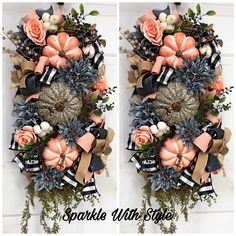 Wreaths And Garlands, Deco Mesh Wreaths, Door Wreaths, Autumn Wreaths, Christmas Wreaths, Wreath Fall, Fall Decor, Holiday Decor, Porch Decorating
