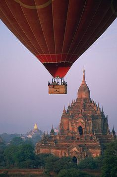 """outstandingplaces: """" Temples of Bagan, Myanmar - After years of suppression Myanmar is finally open for tourists. A fine example of Myanmar's treasures are the temples of Bagan by sunset. Places Around The World, Oh The Places You'll Go, Places To Travel, Places To Visit, Around The Worlds, Travel Destinations, Bagan, Air Balloon Rides, Hot Air Balloon"""