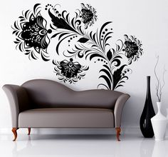 A beautiful floral wall sticker that is ideal for creating naturally elegant looks on your bedroom walls. Ideal for a black and white themed room. #Floral #Decoration #Bedroom