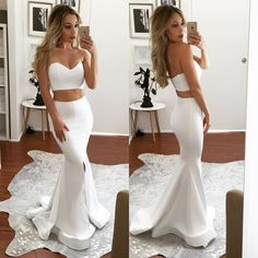 152 usd.White Satin Prom Dress 2017 Mermaid Long Party Graduation Two Piece Backless Formal Gowns Evening Dresses with Slit