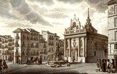 Madrid:Grabado antiguo con la iglesia del Buen Suceso y la fuente de la Mariblanca