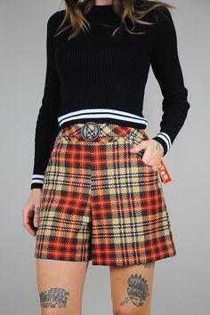 60's Tartan PLAID high waist Shorts by NOIROHIOVINTAGE on Etsy