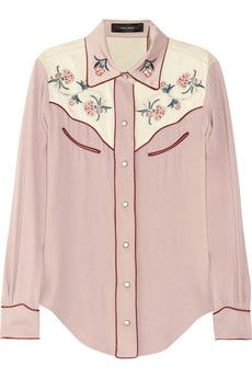 Isabel Marant Laury floral-embroidered crepe shirt £560.00