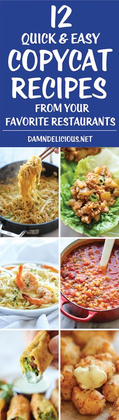 healthy food recipes chiken dinner cooking 12 Quick and Easy Copycat Recipes - You may never have to leave the house with these easy-to-make favorites that you can whip up right in your own kitchen! I Love Food, Good Food, Copykat Recipes, Cooking Recipes, Healthy Recipes, Quick Recipes, Damn Delicious Recipes, Unique Recipes, Crockpot Recipes