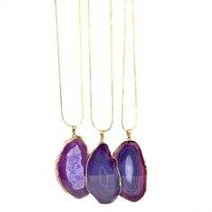 "Agate Slice Necklace 24"" Gold Chain - Purple"