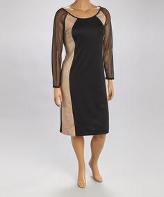 Love this Black & Khaki Ponté Mesh Sheath Dress - Plus by Intriguing Threads on #zulily! #zulilyfinds http://www.zulily.com/invite/marnault306