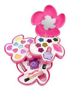 Petite Girls Flower Shaped Cosmetics Play Set  Fashion Makeup Kit for Kids