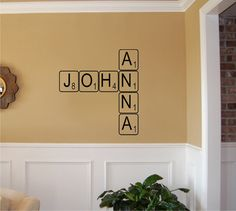Create your own Scrabble letters Vinyl Wall by imprinted decals, How cute is this?