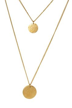 Petite Twin Moon Drop Necklace - Gold