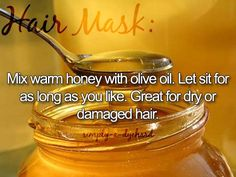 Styling Tip:  Mix warm honey with olive oil. Let sit for as long as you like. Great for dry or damaged hair. ♥