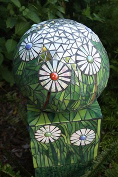 Flower Ball - Mosaic Sphere and stand