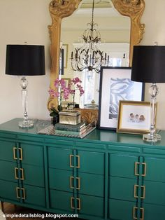 A bright teal will give an old piece of furniture an instant update! We love Behr's Precious Emerald which Pam of Simple Details blog used to paint this fabulous dresser.
