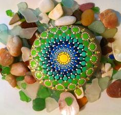 Blue Green Mandala Style~ Hand Painted Beach Stone~ by Miranda Pitrone by P4MirandaPitrone on Etsy