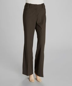 Take a look at this Tobacco & Cream Pinstripe Pants by Larry Levine on #zulily today!