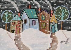4 Winter Cabins ORIGINAL Canvas Panel PAINTING Folk Art Prim 5 x 7 Karla Gerard #FolkArtAbstractPrimitive