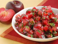 Plumcot Salsa 1 pound Flavorosa Plumcots diced 1/3 cup Red onion minced 1/2 cup Cilantro finely chopped 1/4 cup Mint finely chopped 1 teaspoon Jalapeno Chile red variety 1 Salt and White Pepper to taste 1 tablespoon Lime Juice 2 teaspoons Sugar