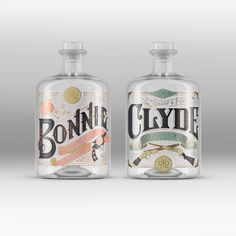 The story of Bonny and Clyde, the good-looking outlaws, has been depicted  in movies and books alike but this time, the glamorization of the legend  comes to life on the bottles of gin designed by Pearly Yon.  The labels have been applied to a limited run of handcrafted gin produced  by a micro distillery in Belgium with the sweeter tasting version called  Bonnie and the stronger tasting one called Clyde.