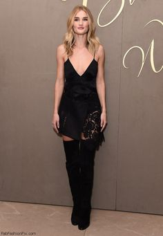 Rosie Huntington-Whiteley wearing Burberry black dress and over-the-knee boots at the Burberry Festive Film premiere in London. (October 2015). #burberry
