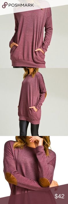 "Dark Plum Extra Long Super Soft Sweatshirt Long sleeve super soft plum colored medium weight slightly loose fit sweatshirt with round collar, tan elbow patch and deep side pockets. So luscious & comfy. Nice & long and will be great for cool evenings or snuggling by the fire.  Material: 62% Polyester, 36% Rayon, 2% Spandex Care: Hand Wash Cold Measurements: S= 23"" bust, 30"" long, 19"" drop-shoulder sleeve M= 24"" bust, 30 1/2"" long, 19 1/2"" drop-shoulder sleeve L=  26"" bust, 31"" long, 19 1/2""…"
