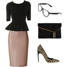 """""""Black/Taupe Pencil Set"""" by apostolicclothing on Polyvore featuring our vintage mid length pencil skirts, half sleeve peplum top and accessorized with vintage glasses by A .C. and matching purse and shoes. #classy #professional #modestclothing"""