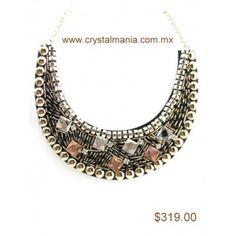 Collar dorado sin aretes con piedras en diferentes tonos estilo 30264