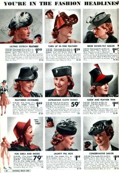 hats from the National Bella Hess Fall and Winter catalog of 1939-1940