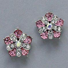 "$7.99 Sale #cybermonday #stockingstuffer Amazon.com: Designer Inspired Earrings, 3/4"" W, 3/4"" L , Flower with Clear & Pink Rhinestones: Jewelry"