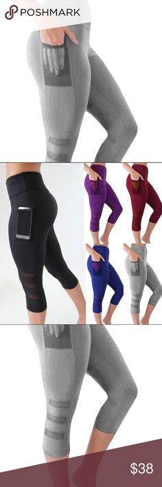 89523b5dafd10 GRAY LEGGINGS Workout Gym Yoga Sheer Panel Capri Gray workout pants with a  pocket for your phones on the side! Fit is True to size. ☘️Vibe: Nike,  Adidas ...