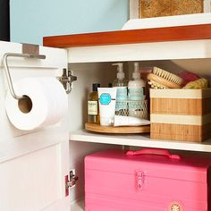 Budget friendly and creative storage ideas: from lazy Susan towers to cabinet door brackets. (image by BHG)