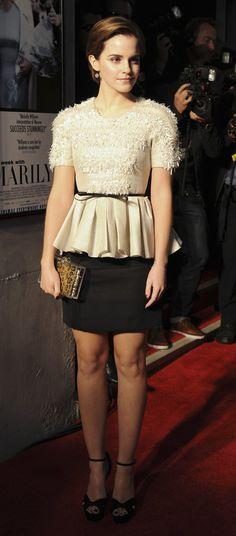 Emma Watson's Style, peplum top, ribbon belt