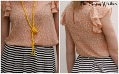 Print Mixing with a polka-dot blouse and striped skirt #spring #fashion #yellow