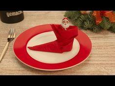 Servietten falten - Der Stiefel - Tischdeko zu Nikolaus - Video-Faltanleitung #chefkoch - YouTube