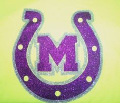 Neon Yellow T-shirt with Purple & Silver Glitter Mason Puncher Horseshoe