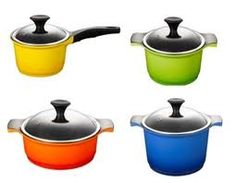 would LOVE bright bold mix matched colored pots and pans