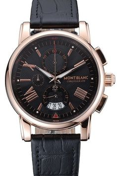 f9066335834 Buy Fake Montblanc Chronograph Black Dial Rose-Gold Case Mens Watches