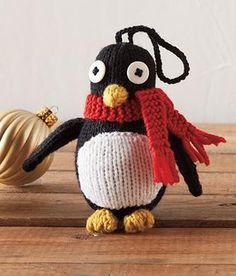 Have you started any winter holiday crafting? We have a cute new free knitting pattern to get you started! Designer Emily Kintigh's adorable Penguin Ornament is perfect for any household at anytime o Knitting Blogs, Free Knitting, Knitting Projects, Crochet Projects, Animal Knitting Patterns, Christmas Knitting Patterns, Crochet Patterns, Penguin Ornaments, Knitted Animals