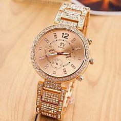 vrouwen goud stalen band met strass quartz analoog horloge (verschillende kleuren)