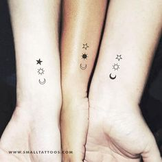 Matching Crescent Sun-And-Star-Temporary Tattoo (Set of tattoos Matc. - Matching Crescent Sun-And-Star-Temporary Tattoo (Set of tattoos Matching the crescent, - Wrist Tattoos Girls, Sibling Tattoos, Tiny Tattoos For Girls, Tattoos For Daughters, Couple Tattoos, Three Sister Tattoos, 3 Best Friend Tattoos, Small Tattoos For Sisters, Tattoo Sister