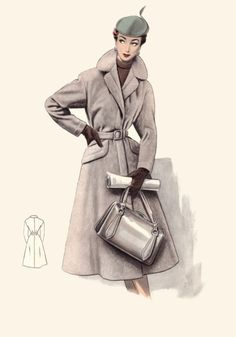 A great cold weather fashion sketch from 1955. #vintage #fashion #illustration #1950s