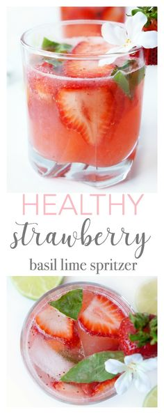 Looking for a way to use up those fresh strawberries? This healthy strawberry basil lime spritzer is a gorgeous and refreshing beverage that's a good source of vitamin C and lower in sugar than your typical summer drink! {Gluten-free, vegetarian & paleo}