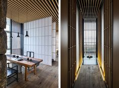 Meditative space designed by Lin Kaixin in Sichaun, China. The calm space uses shoji paper and vertical lines to create a Chinese minimalism.